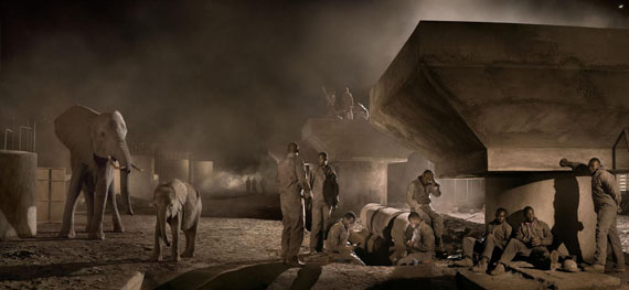 Nick Brandt: Bridge construction with elephants and workers at night, 2018 © Nick Brandt Courtesy ATLAS Gallery London