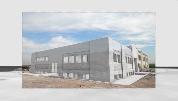 3-D-Modell einer Moschee von Forensic Architecture, kombiniert mit einem Foto des Gebäudes, nachdem der nördliche Teil von zwei Bomben zerstört wurde, 2017© Forensic Architecture