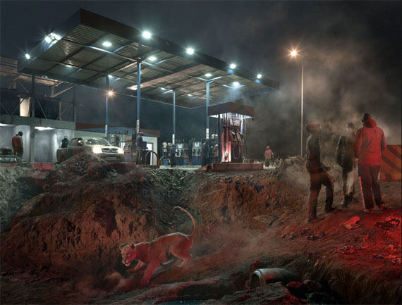 Petrol Station with Lioness, 2018 © Nick Brandt