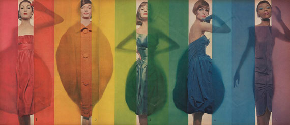 """Rage for color"", Look, October 15th, 1958. (models from the left to right : Renée Breton, Tess Mall, Dolores Hawkins, Anne St. Marie, Bani Yelverton) © The Estate of Erwin Blumenfeld"