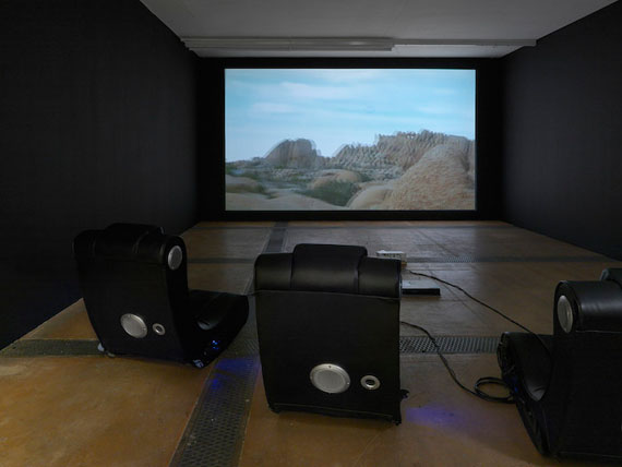 Trisha Baga, MABUHAY, 2016. 3D video projection, 18:37 minutes, and gamer chairs, dimensions variable. Image courtesy of the artist; Centre d'Art Contemporain Genève; and Greene Naftali, New York. Photo by Annik Wetter.
