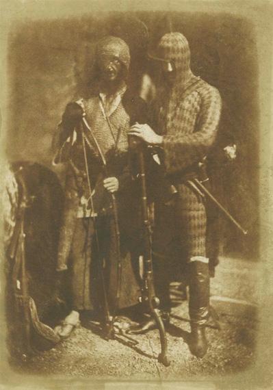 Hill & AdamsonAfghans or Circassian armour, 1843-1847Salt print from a calotype negative8 3/10 × 5 9/10 in, 21.2 × 14.9 cmHans P Kraus Jr. Fine Photographs, New York
