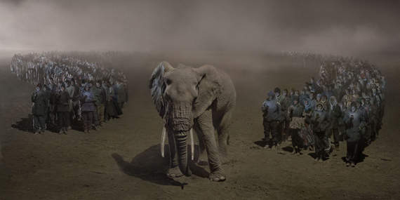 """NICK BRANDTRiver of People with Elephant at Night, 2018This Empty World42"""" x 90.7""""Archival Pigment PrintNick Brandt courtesy of Atlas Gallery"""