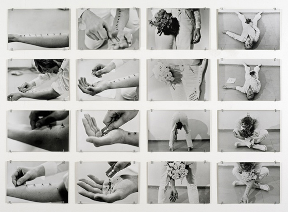 Gina PaneAzione Sentimentale [Sentimental Action], 197416 black and white photographs contained in original blue cloth box31 1/2 × 47 1/5 in, 80 × 120 cmRichard Saltoun, London