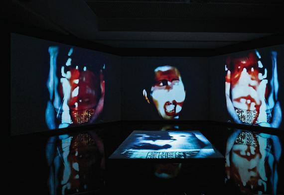 installation view:  La rébellion des morts. Rétrospective 1969-2018 de Nalini Malani© Nalini Malani, « Hamletmachine », 2000