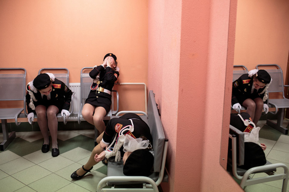 Beckon Us From Home © Sarah Blesener14 December, 2016: Students laugh backstage before a singing and marching competition, at School #6 gymnasium, Dmitrov, Russia.2019 Photo Contest, Long-Term Projects, Stories, 1st Prize