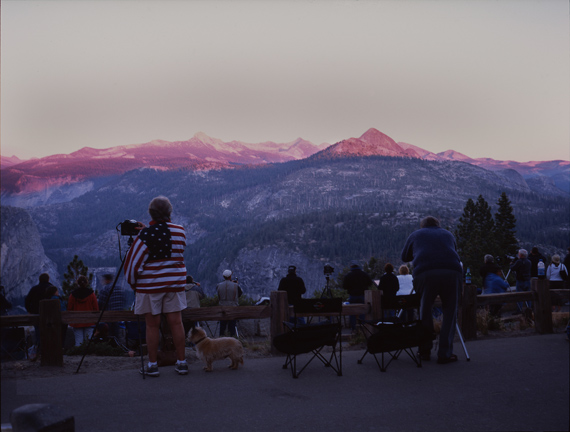"""CHRISTOPH DRAEGER, CAROLYN AND BOB, TWO OF NEARLY FOUR HUNDRED PHOTOGRAPHERS IN YOSEMITE TRYING TO REMAKE """"AUTUMN MOON, THE HIGH SIERRA FROM GLACIER POINT"""" BY ANSELM ADAMS, ON SEP 15, 2005 AT 6:50PM, EXACTLY FIFTY SEVEN YEARS AFTER THE ORIGINAL WAS TAKEN, 2005, © CHRISTOPH DRAEGER"""