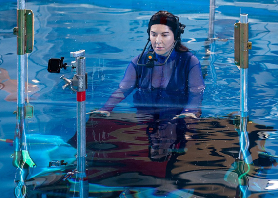 Marina Abramović, still from the behind the scenes of Rising. Courtesy of Acute Art (2018)