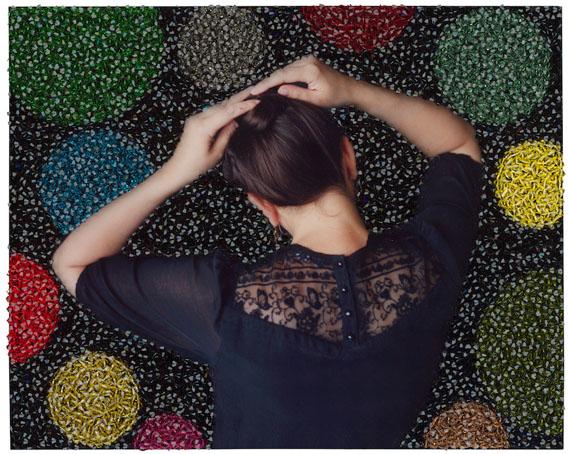 Sissi Farassat: Behind VII, 2014, C-Print with Thread, 13 x 10 cm, Unique piece