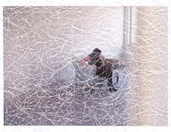 Sissi Farassat: Atelier, 2019, 22 x 29 cm, C-Print with thread, unique piece