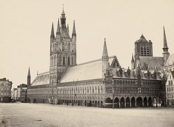 Lot 4006 Bisson Frères. Cloth Hall, Ypres. Circa 1857. Albumen print.