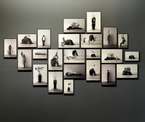 Eva KotátkováNot How People Move But What Moves Them, 2013black and white photo-collageinstallation of 17 black and white photo-collages, variable dimensionsCourtesy hunt kastner