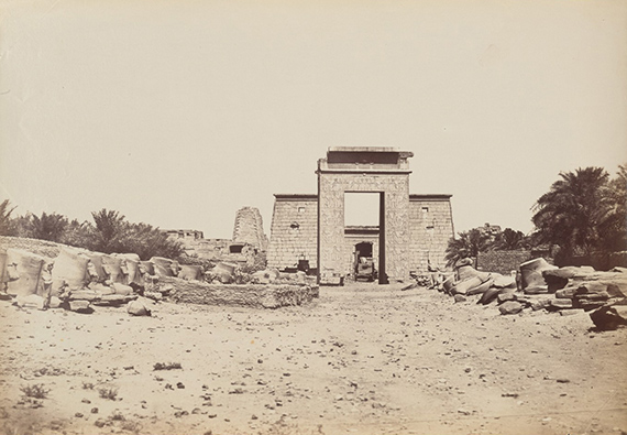 Antonio Beato, Karnak Sphinx et Pylone de Ptolomee c.1870