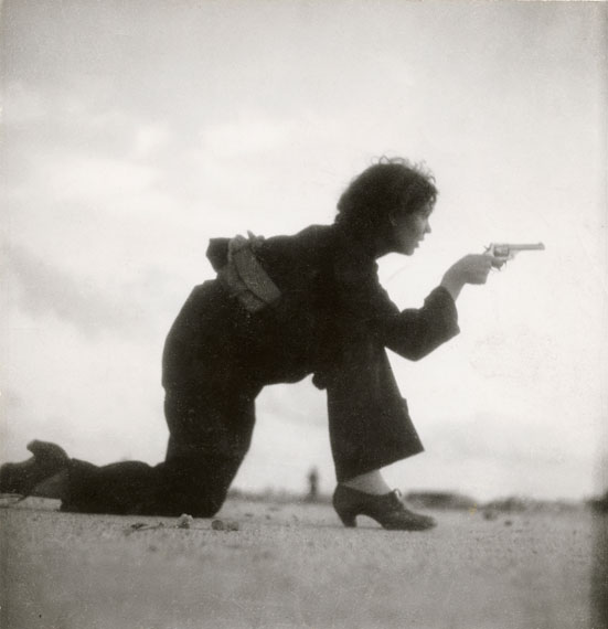 Gerda Taro: Republican militiawoman training on the beach outside Barcelona, Spain, August 1936© International Center of Photography, New York