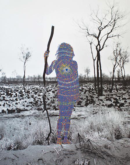 Patrick WaterhouseNANGALA WAITING FOR IGUANA / RESTRICTED WITH JULIE NANGALA ROBERTSON, 2014 - 2018Acrylic paint on archival pigment print88 x 70 cm / framed 110,6 x 92,3 cmUnique piece