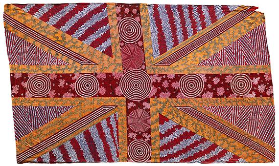 Patrick WaterhouseUNION JACK FLAG / REVISED WITH MARLENE NAKAMARRA MORTON, 2014 - 2018Acrylic paint on fabric95 x 154 cmUnique Edition