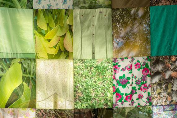 """Valentina Seidel: """"Flora Incognita"""", 2020, Textiles Objekt, 300 cm x 240 cm, Fotografien auf Textil, Kleidungsstücke"""