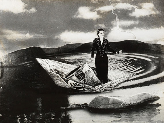 """Lot 129Grete Stern""""Sueno N° 25: Barquito de papel"""", 1949print of later date, gelatine silver print7.5 x 9.9 cm, mounted on a cardthe latter with New Year's wishes for 1989 on the reverse, signed Grete, 10.4 x 15.2 cmEstimate: EUR 700 to EUR 1,000"""