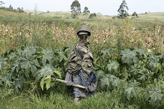 Northeastern Ituri Province, DRC, February 2020. The likeness of a Congolese soldier stands in a field near the village of Tche in Congo's northeastern Ituri Province in mid-February. With few government forces in the 