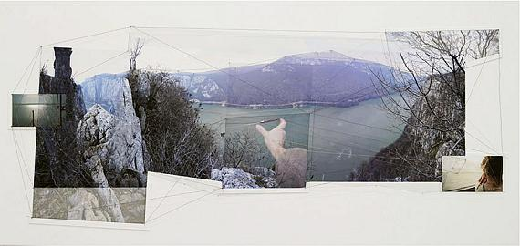 Iosif Király: Synapses—Danube, Iron Gates, 2016-2020photoinstallation (analogue and digital photomontage printed with archival pigment mounted on dibond, metal thread) 70 x 150 cm, unique edition