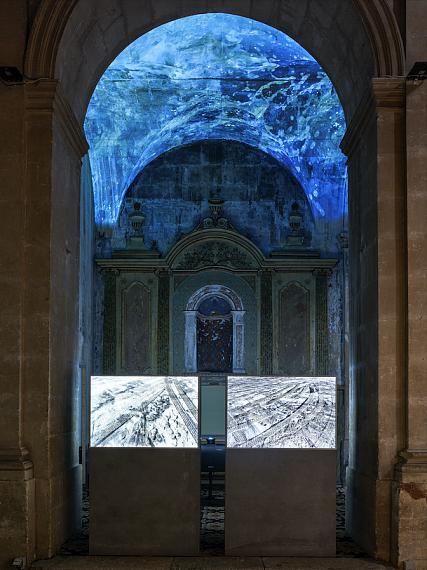 "View of the installations ""PASSAGE // 32°32'04.7''N 117°07'26.3''W"" and ""HAVEN"", Chapelle de la Charité, 2021 © Romain Girtgen/CNA"