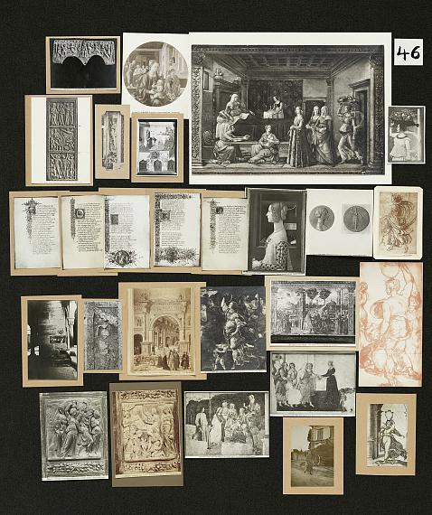 Aby Warburg, Bilderatlas Mnemosyne, Tafel 46(Rekonstruktion Ohrt / Heil 2020)Foto: Wootton / fluid; Courtesy The Warburg Institute