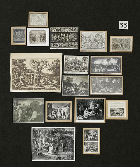 Aby Warburg, Bilderatlas Mnemosyne, Tafel 55(Rekonstruktion Ohrt / Heil 2020)Foto: Wootton / fluid; Courtesy The Warburg Institute
