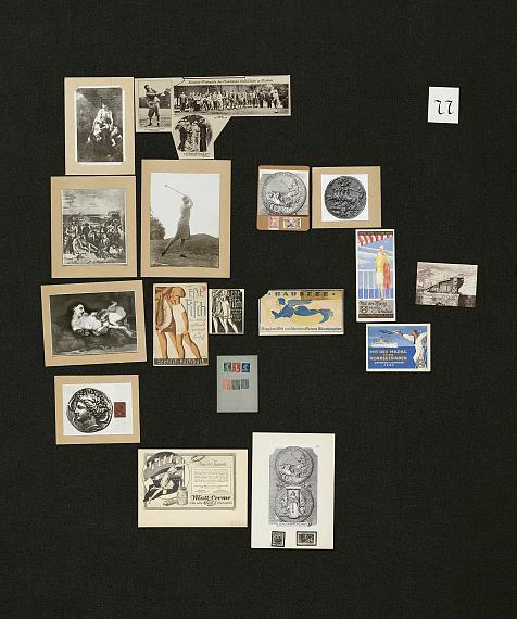 Aby Warburg, Bilderatlas Mnemosyne, Tafel 77(Rekonstruktion Ohrt / Heil 2020)Foto: Wootton / fluid; Courtesy The Warburg Institute