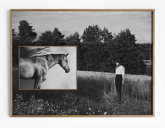 Anja NiemiTHE SHOW JUMPER AND THE HORSELESS RIDER, 2021Inkjet on Hahnemuhle Photo Rag Baryta paperSpecial edition frame with smaller frame inside (behind the glass): 112 x 150 cm / inset 45 x 60 cmEdition of 3 plus 1 artist's proofsAlso available as single prints in an edition of 9