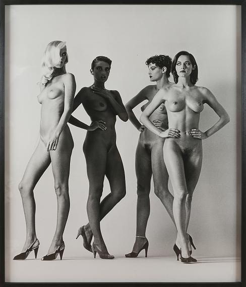 """Lot 150 Helmut NEWTON (1920-2004)Sie kommen (Walking women), 1981Large silver print made by the Choi studio in 1981on the back signed in pencil, indication of the print """"A.P"""" 1/1author's stamp """"copyright Helmut Newton Paris, France"""" and typed caption on label """"Walking women, Paris, 1981""""135 x 115 cmFramed by the studio Deuxième ŒilEstimate: 40,000 - 50,000 EUR"""