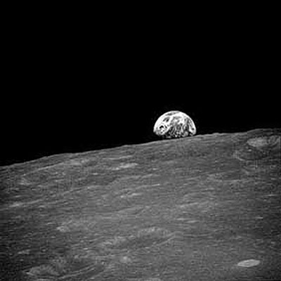 Earthrise seen for the first time by human eyes, Apollo 8, 1968.