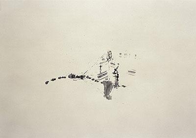 Gabriele Worgitzki '310306 / begehbare räume'©2006, Tusche auf Papier, 86x122cm