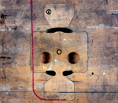 © Sinje Dillenkofer»CASE 76«, 2006 Inkjetprint on Hahnemuehle handmade paper, aluminium, wooden american frame,113,5 x 129 x 3,5 cm / 44,7 x 50,8 x 11,4 inch,(wooden mould for carburettor flange, 1937, Daimler AG Mercedes-Benz Classic Center, Stuttgart)