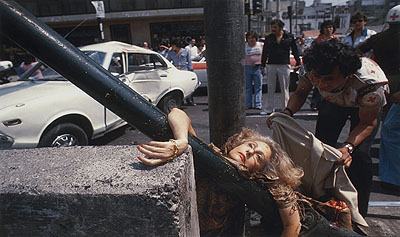 Enrique Metinides Untitled (Close-up of a blonde woman who was hit by a car and was smashed into a pole on the Avenida Chapultepec, Mexico City), 1979C-Print 39.5 x 58 cmCollection Thomas Koerfer © Enrique Metinides / Courtesy of Kurimanzutto, Mexico City, & Anton Kern Gallery, New York City
