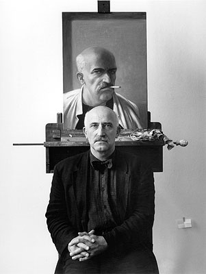 © Manfred Hamm, Volker Stelzmann in seinem Atelier in der HDK Berlin, 1995, 50x60 cm auf Ilford Galerie Papier