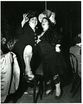 Billie Dauscha (left) and Mabel Sidney (right) Bowery Entertainers, December© Estate of Weegee/ International Center of Photography/Getty Images courtesy Michael Hoppen Gallery