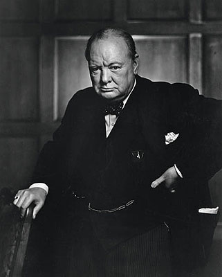 Yousuf Karsh, Portrait of Sir Winston Churchill. Silver print, 19 3/4 x 15 3/4 inches (50.2 x 40 cm.), with Karsh's signature and