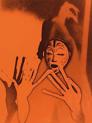 Maurice TabardEssay for a film. Culte Vaudou (voodoo cult), 1937Vintage gelatin-silver print (solarisation) with red/orange transparent foil, 22,7 x 16,9 cmCentre Pompidou, Musée national d'art moderne, Paris© RMNPhoto: Georges Merguerditchian