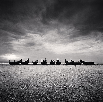Nine Boats, Andakarnnazi Beach, Kerala, India, 2008  © Michael Kenna