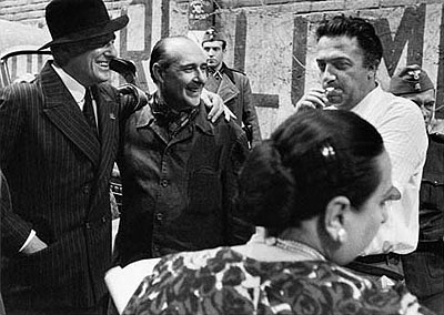 © William Klein: Vittorio De Sica, Roberto Rossellini and Federico Fellini on the set of