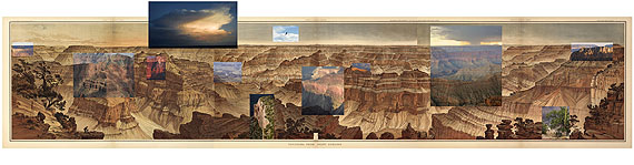 © Mark Klett and Byron Wolfe, 2007. Details from the view at Point Sublime on the north rim of the Grand Canyon, based on the panoramic drawing by William Holmes (1882). Background: William Henry Holmes, 1882. Sheets XV, XVI, XVII. Panorama of Point Sublime. From Clarence Dutton, Atlas to Accompany the Monograph on the Tertiary History of the Grand Canyon District. (Courtesy of the Library of Congress).