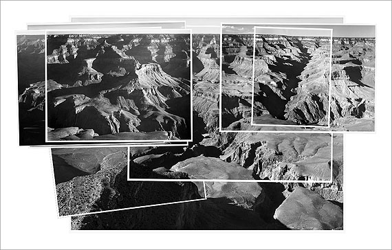©  Mark Klett and Byron Wolfe, 2008. Combined record of Ansel Adams' photographs made over the course of an entire day, Yavapai Point.Inset (all): Ansel Adams, 1941. Grand Canyon National Park, Arizona. (Courtesy of the Center for Creative Photography, Tucson, AZ and the National Archives, Washington, DC)
