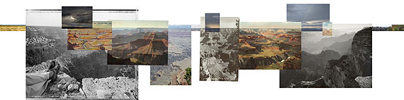 © Mark Klett and Byron Wolfe, 2008, Panorama of Hopi Point based on the horizon line from west to east. Inset (L to R): Mark Klett and Byron Wolfe, 2007. South rim edge looking west at sunrise. Mark Klett, 1983. Picnic on the edge of the rim.