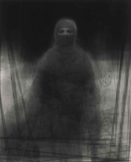 "KEN KITANO23 Muslim Women wearing Burkas, Nira Village, Bangladesh, from the series ""Our Face"" 2008 gelatin silver print, unique 178 x 142 cm"