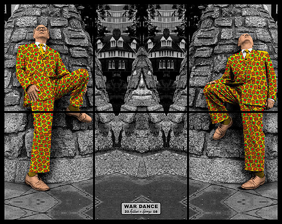 "Gilbert & George: War Dance. Aus der Serie ""Jack Freak Pictures"", 2008. 151 x 190 cm. © Gilbert & George"