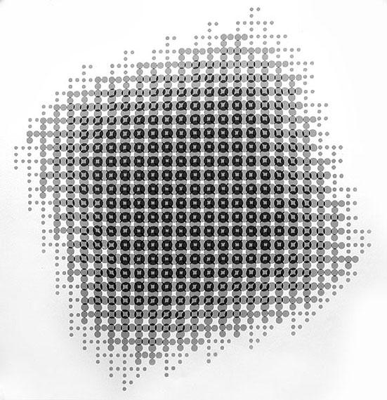 1967-Lochblendenstruktur-3.8.14B2.6 SW-Print 50x50 cm