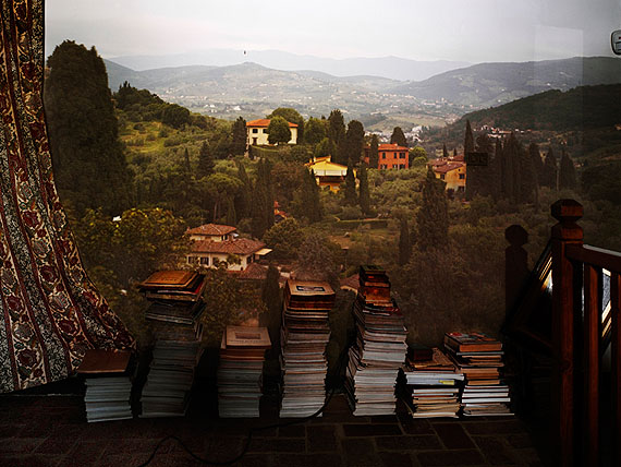 Camera Obscura: View of Landscape Outside of Florence in Room with Books, 2010 © Abelardo Morell, Courtesy Bonni Benrubi Gallery, NYC