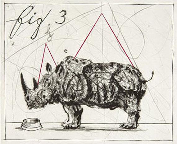 William Kentridge, Rhino, 2005Kaltnadelradierung