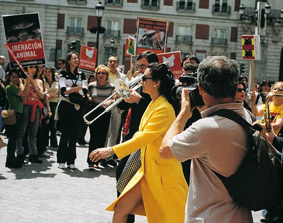 Pilar Albarracín (Spanish, b. 1968). Long Live Spain (Viva España), 2004. Production still; video, 3 min. 30 sec., color, stereo sound. Lent by the artist. © Pilar Albarracín. (Photo: Courtesy of the artist)