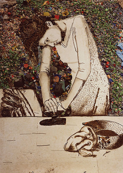 "Vik MunizWoman Ironing (Isis), from the series ""Pictures of Garbage"", 2008digital C-Print, 143 x 101,6 cm@ Vik Muniz"
